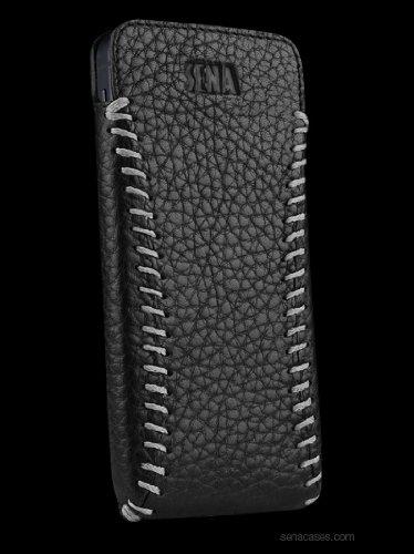 Great Sale Sena 826774 Sarach Ultraslim Leather Case for iPhone 5 - Black/Grey
