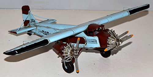 Aeroplane Columbus Red/White Aeroplane Metal Model of 1926 Sheet Metal Tin Model Vintage Canvas 35 x 28 cm 37938