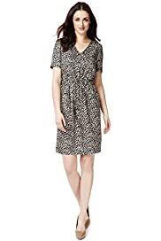 V-Neck Animal Print Zip Front Dress