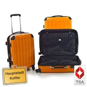 3er Set Hartschalen Kofferset Trolley orange-Hochglanz,TSA