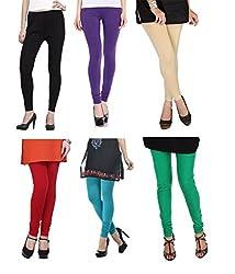 Shiva collections B/PUR/S/R/TURK/G cotton legging ( SET OF 6)