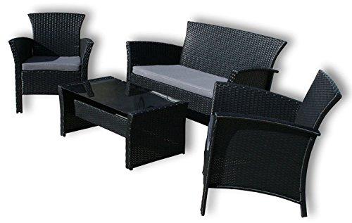 """KMH®, 4 Teilige Gartensitzgruppe """"Remy"""" (2 Gartensessel, 1 Zweisitzer und ein Tisch mit Glasplatte) (#106001) online bestellen"""
