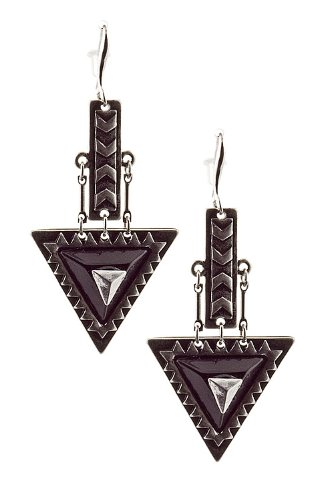 Trendy Fashion Jewelry Triangle Dangle Earrings By Fashion Destination | (Black/Silver) front-1065562
