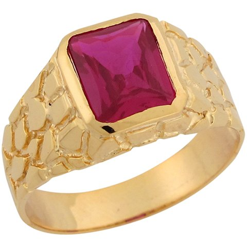 9ct Yellow Gold Synthetic Ruby Nugget Inspired Thin Band Mens Ring