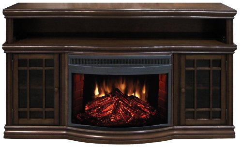Muskoka MTVS2513SE-2 Dwyer Electric Fireplace Media Mantel with Curved Front Firebox - Espresso