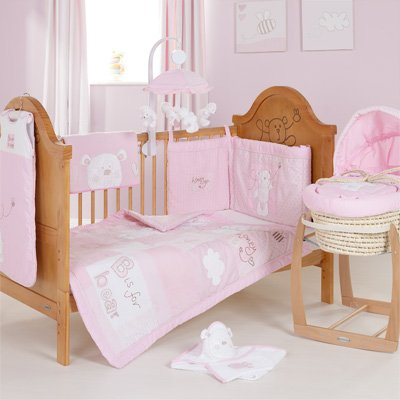 OBaby B is for Bear Cot quilt and Bumper Set - Pink