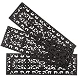 Entryways Fleur Di Lys Stair Tread Recycled Rubber Doormat, Black, Set of 3