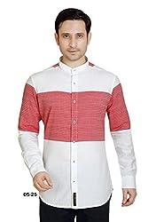 White-Red Horizontal Stripe Dobby Cotton Shirt