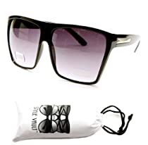 W232-vp 80s Wayfarer Oversized Lens Sunglasses (Rn Black, Uv400)