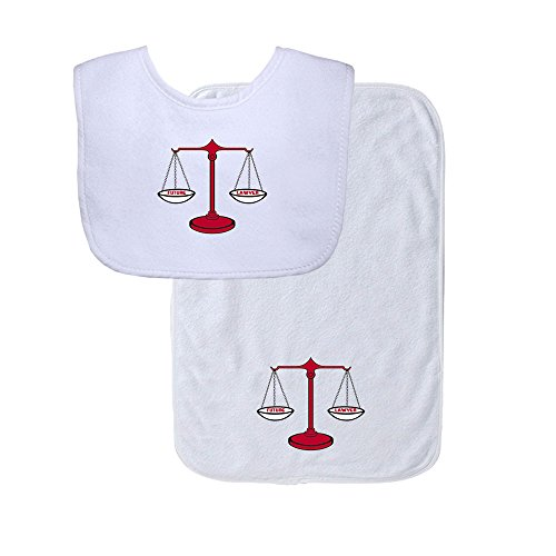 Future Lawyer Red Law Scale Soft Terry Cotton Baby Bib & Burp Cloth Set