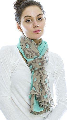 Shoppolala Women'S Overlapping Leopard Print Oblong Scarf O/S Mint