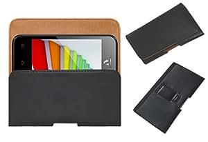 Acm Belt Holster Leather Case For Videocon Infinium Zest Flame Mobile Cover Holder Clip Magnetic Closure Black