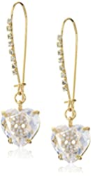 Betsey Johnson Pave Skull Cubic Zirconia Heart Long Gold Drop Earrings