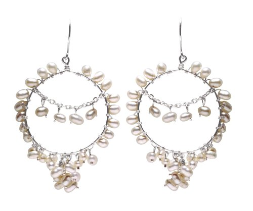Sterling Silver Chandelier Earrings with Freshwater Pearls From the Femme Collection By Mauricio Serrano Jewelry