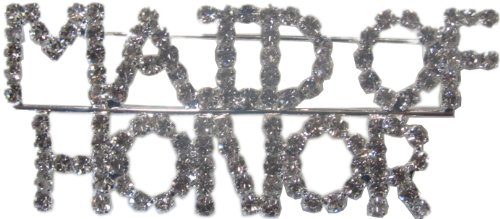Crystal Rhinestone Maid of Honor Pin Brooche