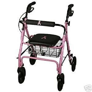 PINK (Breast Cancer Awareness), Medline Deluxe Folding Rollator Rolling Walker $10.00 of purchase price is donated to Breast Cancer Research.
