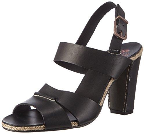 Fred de la BretoniereFred double front strap rope sandalet 9.5cm heel leather sole Lloret - Sandali a Punta Aperta Donna , Nero (Nero (nero)), 38