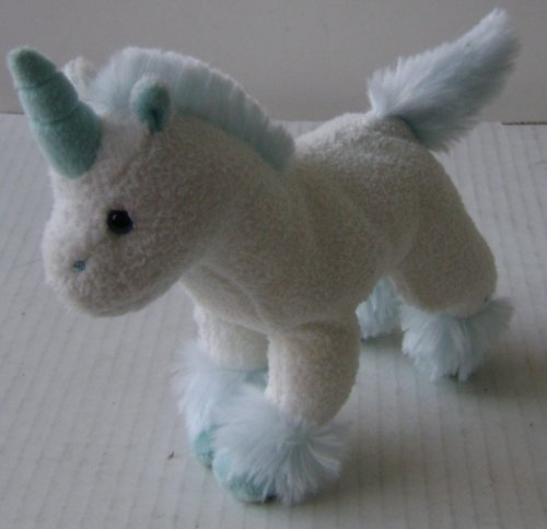 White Unicorn with Fluffy Baby Blue Tail Plush Toy Stuffed Animal - 6 inches long x 5 inches tall