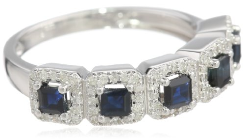 Sterling Silver Sapphire and 1/4cttw Diamond Ring, Size 7