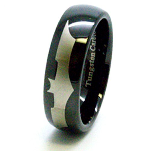 Blue Chip Unlimited - Unisex 8mm Black Batman Tungsten Carbide Ring Wedding Band Designer Fashion Engagement Ring Size L 1/2