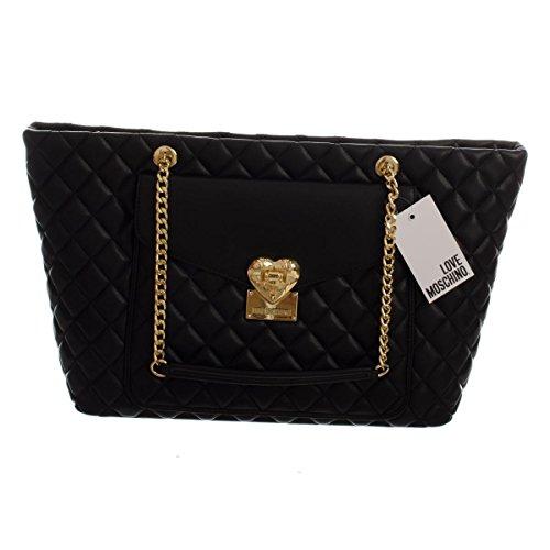 Handtasche Love Moschino Damen Polyurethan Schwarz und Gold JC4014PP12LA0000 Schwarz 13x27.5x35.5 cmEU thumbnail