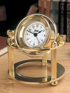 Weems & Plath Solaris Desk Clock with Rectangular Brass Engraving Plate