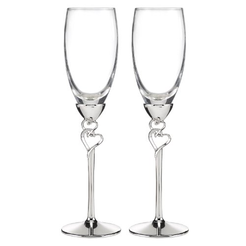 Hortense B. Hewitt Entwined Hearts Silver-Plated Champagne Flutes (Set of 2)