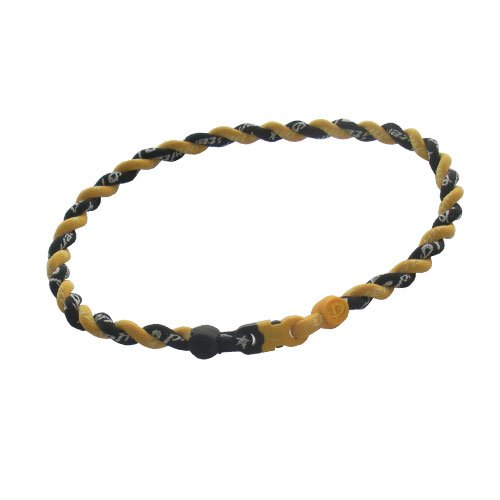New Phiten Titanium Tornado Necklace Gold/Black with Black and Gold Trim and Clasp 20