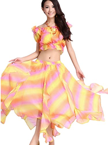 Dancewear Danza del ventre Custome Tribal Rainbow Manica cortas Top & Chiffon lunga Gonna pink yellow