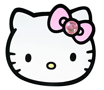 Hello kitty die cut big face white pink for Hello kitty cut out template