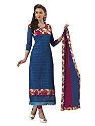 Emroidered Royal Blue & Pink color Dress Material comes With Chanderi Cotton Fabrics
