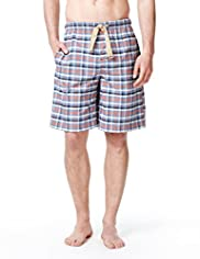 North Coast Pure Cotton Checked Pyjama Shorts