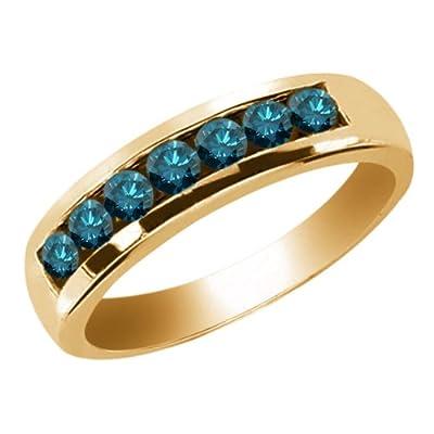 0.84 Ct Round Blue SI1/SI2 Diamond 18K Yellow Gold Men's Wedding Band Ring
