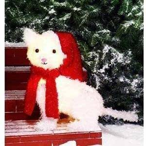 Holiday 20 lighted fluffy white cat with red for Amazon christmas lawn decorations
