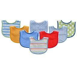 8-Pack Colorful Printed Baby Bibs, Blue