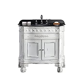 """Ove York-36 Vanity with Black Granite Countertop and 18"""" Oval Undermount Basin, 36"""", Antique White/Gold"""