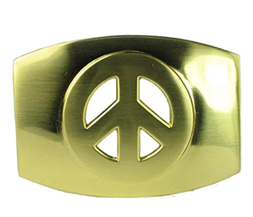Peace Sign Belt Buckle Bright Gold Finish