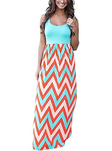 Metup Womens Summer Color Block Sleeveless Long Cocktail Party Dress Orange 2XL
