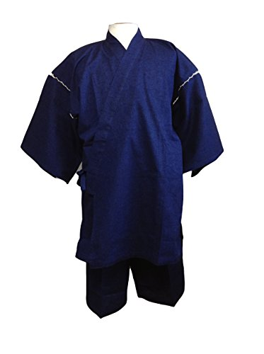 日本紬織り甚平(つむぎおりじんべい)(紺) (M, 紺)