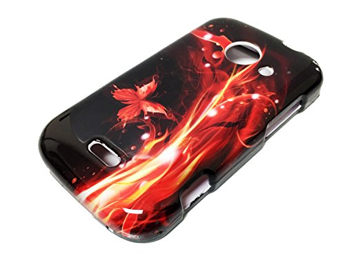 For ZTE Z667 Zinger Prelude 2 Whirl 2 Z667G Hard Phone Cover Hard Faceplate Case Accessories + Happy Face Phone Dust Plug (Fire Red Flame Butterfly) (Phone Cases For Model Z667g compare prices)