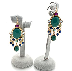 Emerald Green Resin Inlay Chandelier Drop Hook Earrings (Supplied in a Gift Pouch)