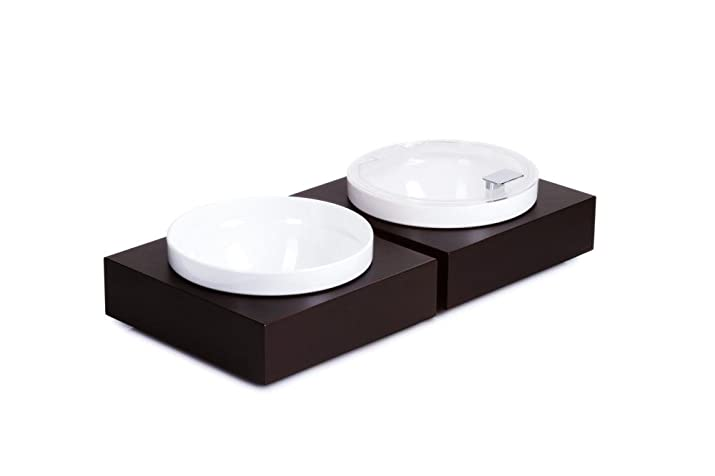 APS Bowl Box L–rettangolare 26,5x 26,5cm, altezza 8,5cm, in legno di faggio, massiccio, tinta Wenge del foro diametro: 22,2cm