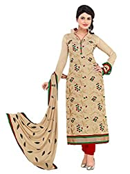 Beige colour embroidered chanderi fabric semi stich churidar dress material
