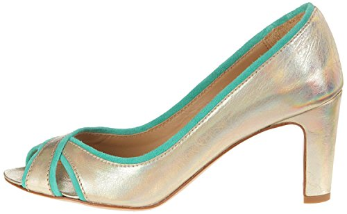 Atelier Voisin - Scarpe peep toe Donna , Oro (chic gold suede green), 37