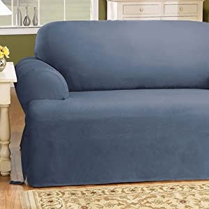 Sure Fit 139727269b Bluestone Cotton Duck Loveseat Slipcover T Cushion Sofa