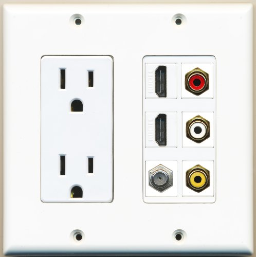 Riteav - 2 X 15 Amp 125V Power Outlet 3 X Rca - 2 X Hdmi And 1 X Coax Cable Tv Port Wall Plate White