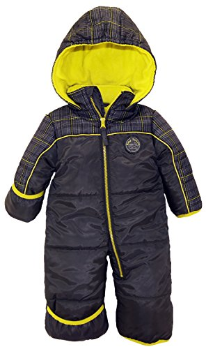 IXtreme Baby Boys Plaid Expedition Puffer Winter Snowsuit Pram, Grey, 12 Months