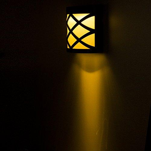 WANGSCANIS Outdoor Solar Energy Propulsé capteur LED Super Bright étanche Lumière solaire Étape éclairage (warm white)