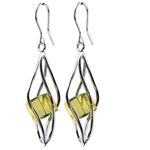 Sterling Silver Caribbean Amber Millennium Collection Twisted Earrings