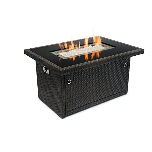 Outland Fire Table, Aluminum Frame Propane Fire Pit Table w/Black Tempered Glass Tabletop Resin Wicker Panels & Arctic Ice Glass Rocks, Model 401 35,000 BTU Auto-ignition